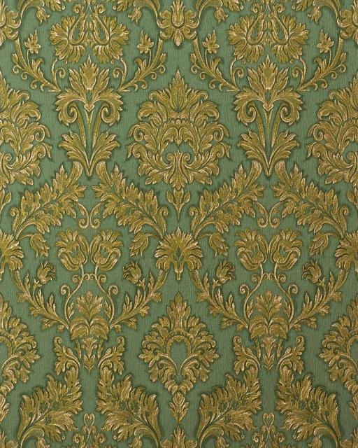 Hochwertige Tapeten Hersteller : Hochwertige Pr?ge Barock Tapete klassisch damask ornament edel-gr?n