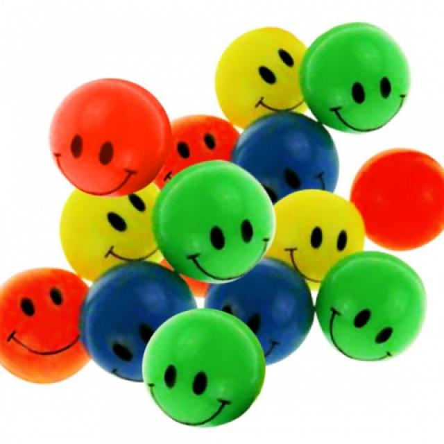 10-542160, Flummi 45 mm Smiley Gesicht, Springball, Flummiball