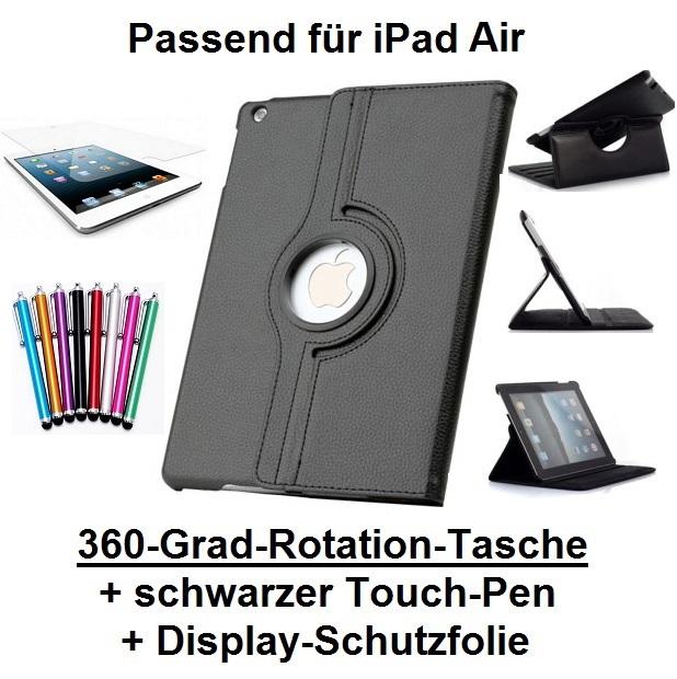 Edle 360° Kunstleder Tasche schwarz für iPad Air 5 inkl. Display-Schutzfolie + Touch-Pen