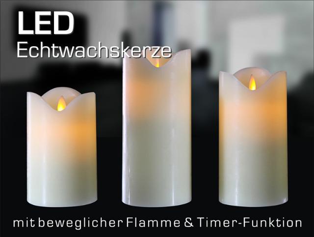 17-28368, LED Echtwachs Kerze mit beweglicher Flamme und Timer Funktion, 12,5 cm
