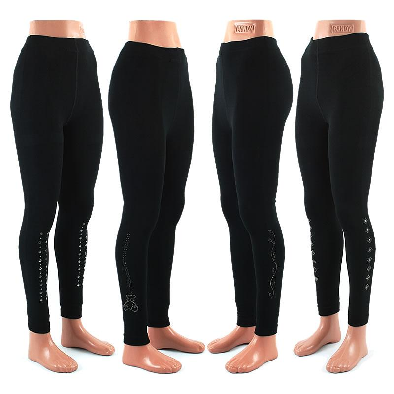120 Leggings Leggins Strass Applikation Schwarz 1200Den nur 1,90€