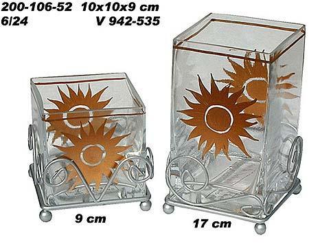 Glas Windlicht,Sonne gold Motiv, Deko f. Garten, Weihnachten
