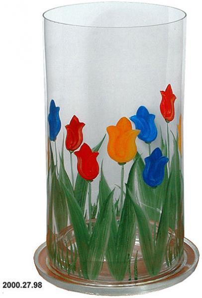Windlicht, Tulpen Motiv, 22x12 cm f. Garten, Deko