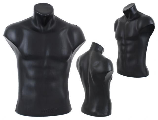 4 Torso Büste Body Puppe Mann Men Männlich Male Schaufensterfigur Schwarz Black nur 17,50 Euro