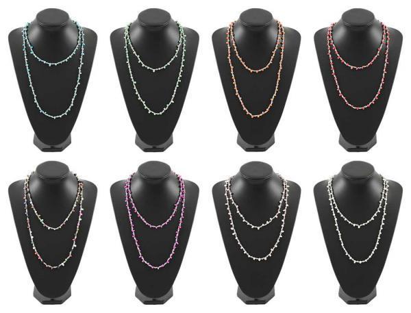 Damen Halsketten Halsschmuck Bunte Steine Extralang nur 2,40 Euro