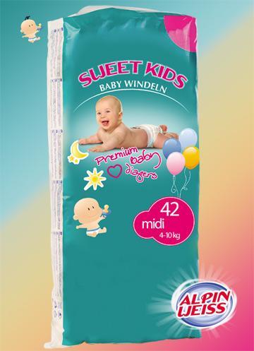 SWEET KIDS MAXI Babywindeln Windeln 9-18 Kg 36 Stk./Pack Deapers
