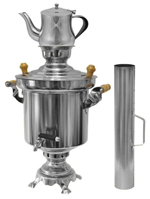 !Edelstahl Holzkohle Samowar 5 Liter mit Schornstein