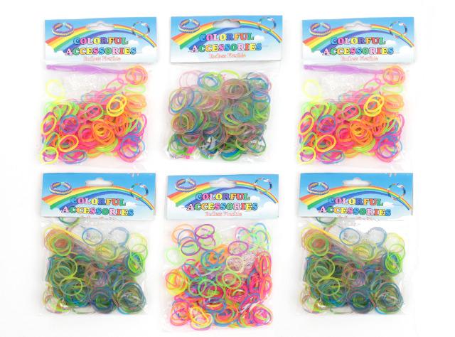 300 Pakete (á 200Stk) Loom Band Bänder in den abgebildeten Farben inkl. Verbindungsstücke und Haken im Polybeutel mit Headcard nur 0,18 EUR