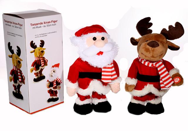 17-22772, Tanzende Weihnachtsfiguren, 33 cm, mit Musik, singend, Weihnachtsfiguren, Elch, Weihnachtsmann, Nikolaus