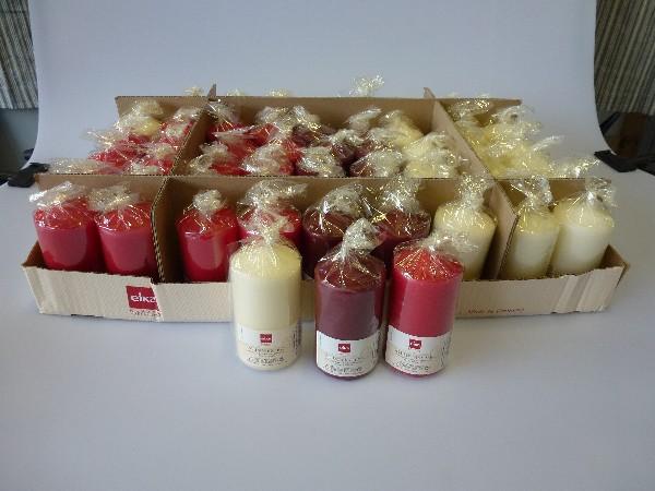 EIKA Stumpenkerzen 11 x 6 cm, aktuelle, weihnachtliche Farben