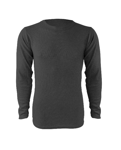 Herren langarm THERMO-Unterhemd aus Baumwolle in anthrazit