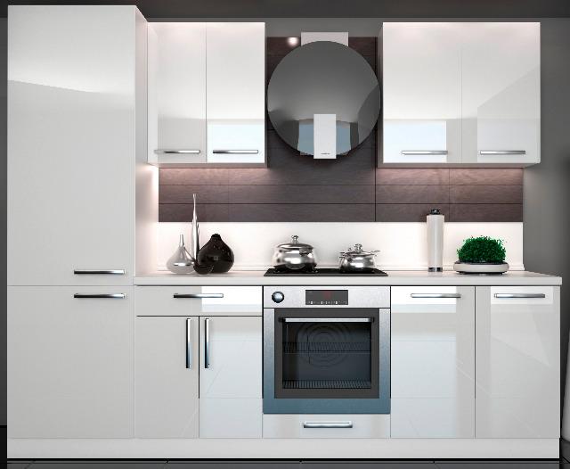 Küche Hochglanz Weiss 2,60m