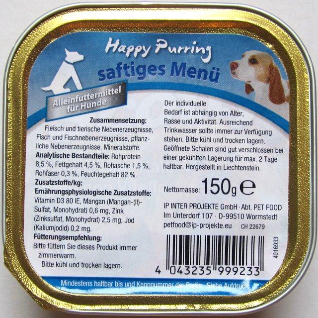 Happy Purring Hundefutter 150g Alu Schale