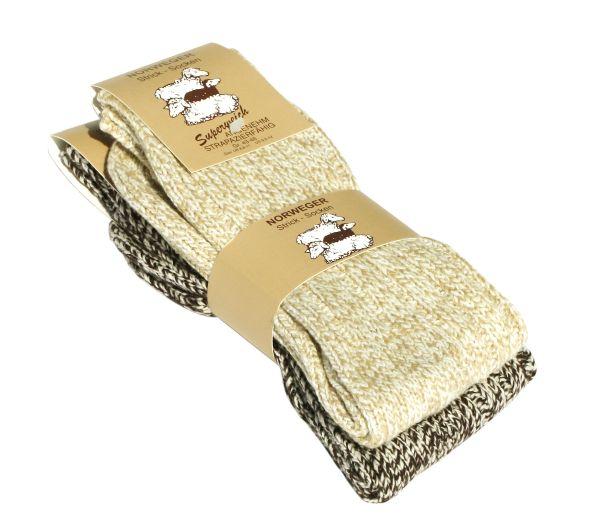Unisex Norweger Grobstrick-Socken mit Wolle in beige-braun
