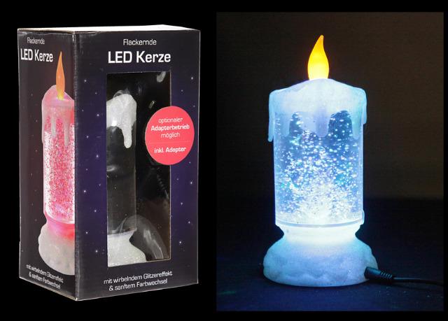 "17-30401, LED Kerze ""Glam"", 18cm, mit Trafo, mit Glitzer-Farbwechsel"