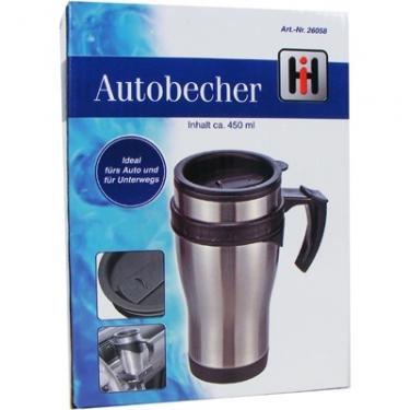 28-26058, Isoliertrinkbecher Edelstahl, Thermobecher, mit Griff, Autobecher, auch für Standard-Getränkehalter