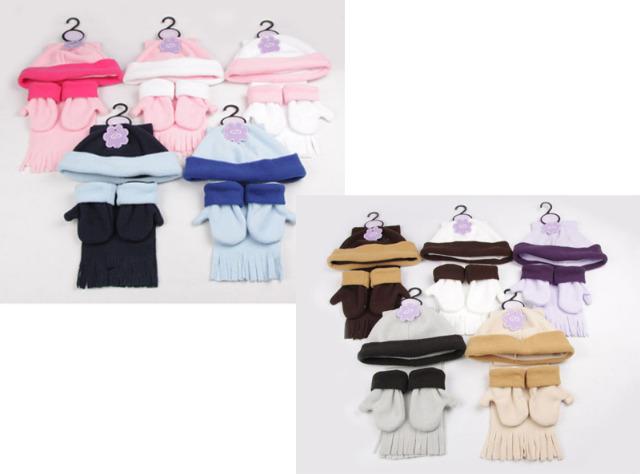 kinder baby 3er set m tze schal handschuhe fleece versch. Black Bedroom Furniture Sets. Home Design Ideas