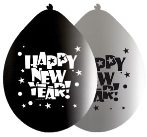 27-13521, Ballons 'Happy new year' 8er Pack, Party, Karneval, Fasching, Silvester, Event, usw