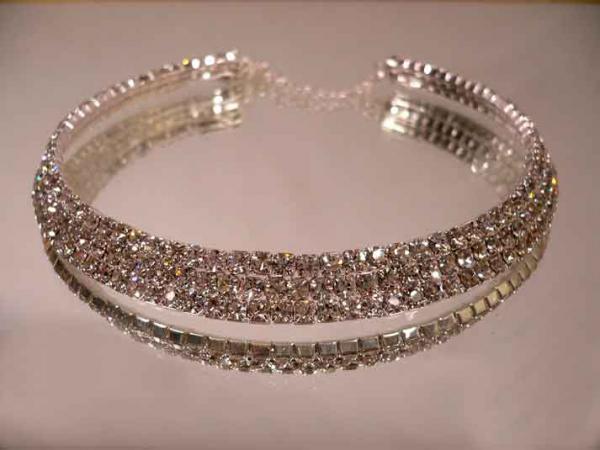 Exklusives 3 Reiher Strass Juwelen Halsband Collier