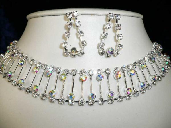 Kristall Strass Halsband Collier mit Ohrringe