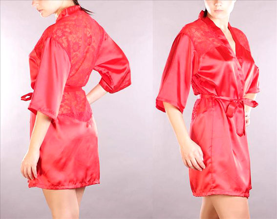 morgenmantel damen kimono satin rot s xl posten c1 9253. Black Bedroom Furniture Sets. Home Design Ideas