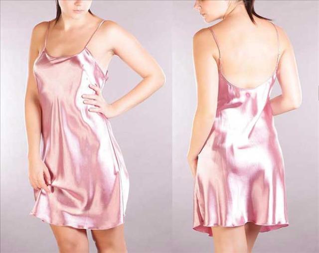 Neglige Nachtwäsche Nachtkleid Kleid Nachthemd Silber C1-8635
