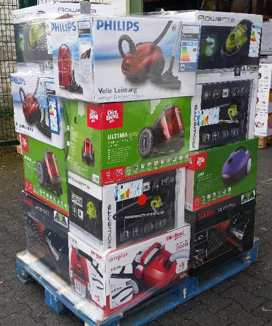 Elektro-Kleingeräte Großhandel:  ,Mix Palette Marken Ware Staubsauger AEG,PHILIPS,ROWENTA,DIRT DEVIL