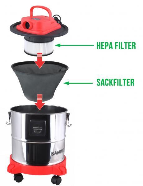 Aschefilter Aschesauger Kaminsauger 20L 1200W HEPA Filter DualFilter
