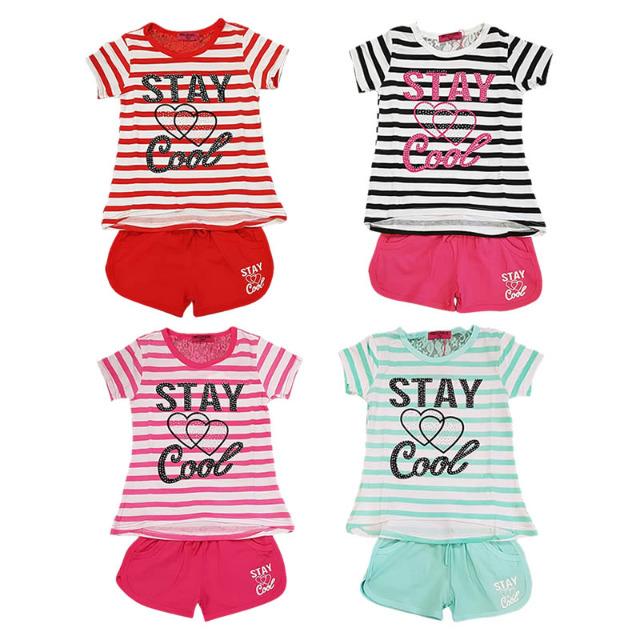 Kinder Mädchen Sport T-Shirt Hosen Sets