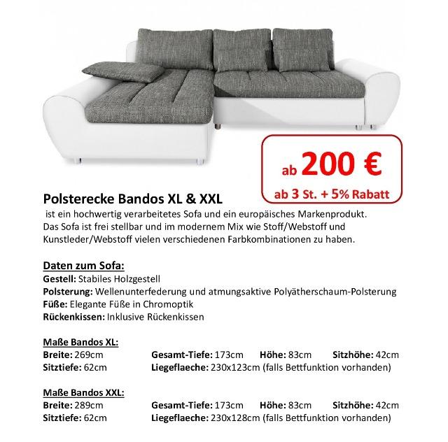 Polsterecke Bandos XL & XXL mit und ohne Bett