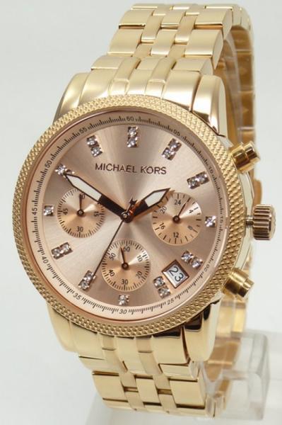 Uhren Großhandel: Michael Kors Damenuhr Chronograph MK6077 Ritz rosegold