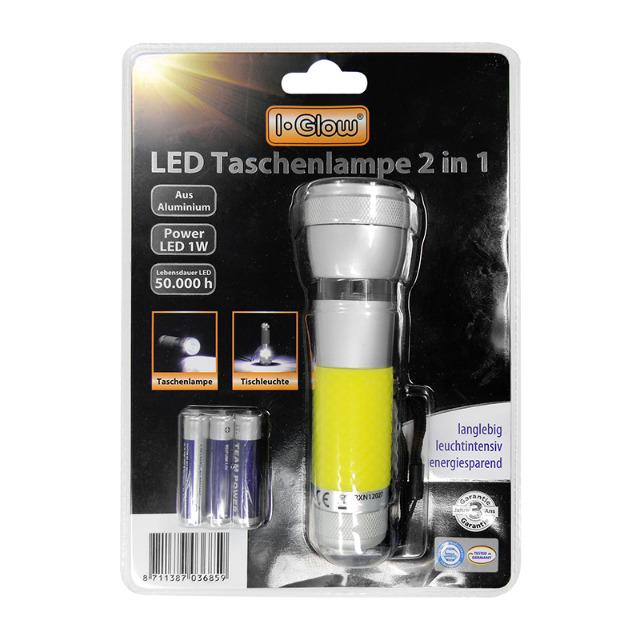 2in1 Taschenlampe + Tischleuchte mit Power LED, kaltweiß, Aluminium I-Glow