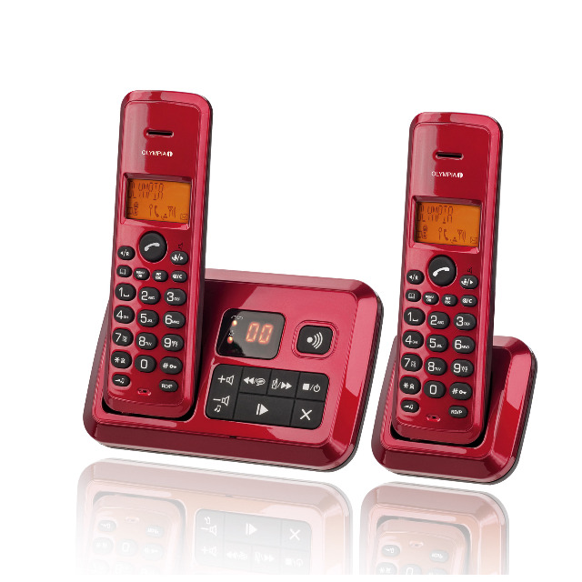 Olympia Certo Answer Twin Schnurloses Duo Telefon mit AB in Rot