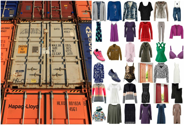 Palettenware LKW Container Bekleidung Textilien Schuhe Restposten