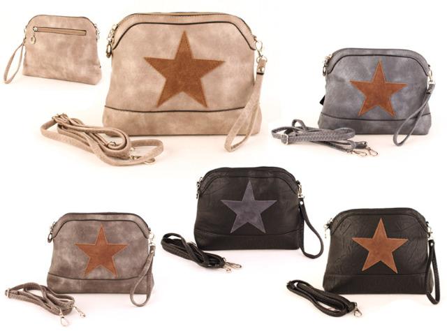 3513460d7c667 Damen Taschen Stern Mix Canvas Stoff Leder Applikation Kulturtasche Clutch  - 8