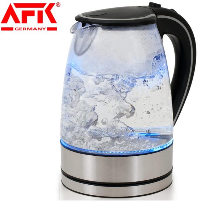 AFK Germany Glas Wasserkocher 1.7L 360 kabellos Blaue LED