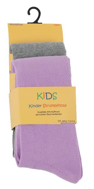 Kinder Baumwoll-Strumpfhosen in grau meliert-rosa