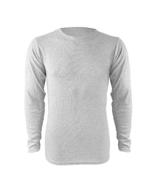 Herren langarm THERMO-Unterhemd aus Baumwolle in grau