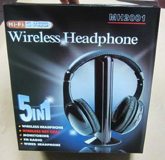 Wireless-Kopfhörer 5 in 1, schwarz