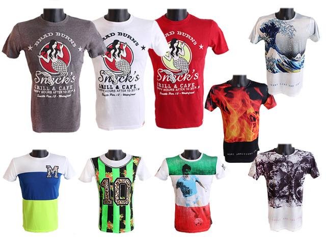 Herren Men Kurzarm T-Shirts Rundhals Mix Motivdruck Vintage T-Shirt - 1,59 Euro