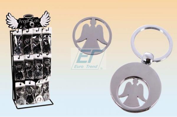 Schlüsselanhänger Metall Engel mit Einkaufswagenchip & Aufsteller