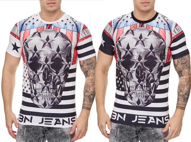 Herren Men Kurzarm T-Shirts Rundhals Motiv Druck T-Shirt - 6,90 Euro