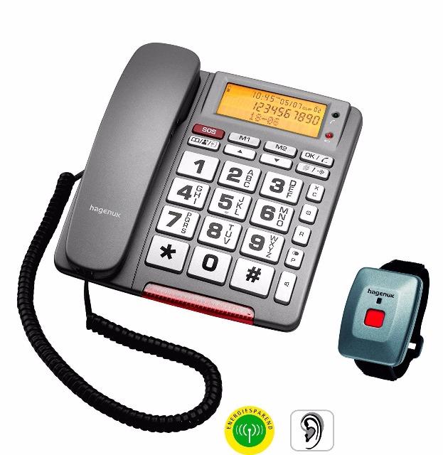Hagenuk BIG 64 SOS Einzelleitung Schnurtelefon Telefon Seniorentelefon SOS-Taste Mini-Funksender