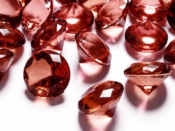 Deko-Steine aus Acryl, tief rot, Diamant 30 mm, 5 Stück in PVC Blisterbeutel mit Euroloch