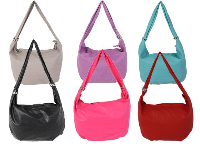 Damen Taschen Tasche Shopper Kunstleder Uni Umhängetasche Schultertasche Ringe - 5,90 Euro