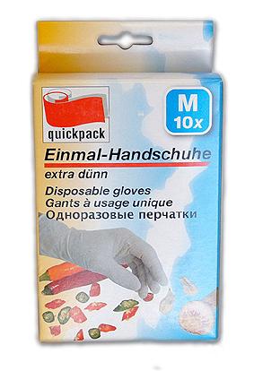 12-4000576, Einweghandschuhe Latex 10er Pack  extra dünn Größe M