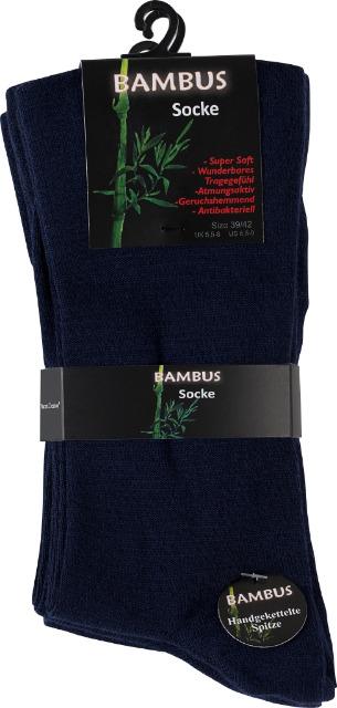 Vincent Creation® Unisex BAMBUS-Socken mit nahtloser Spitze in marineblau