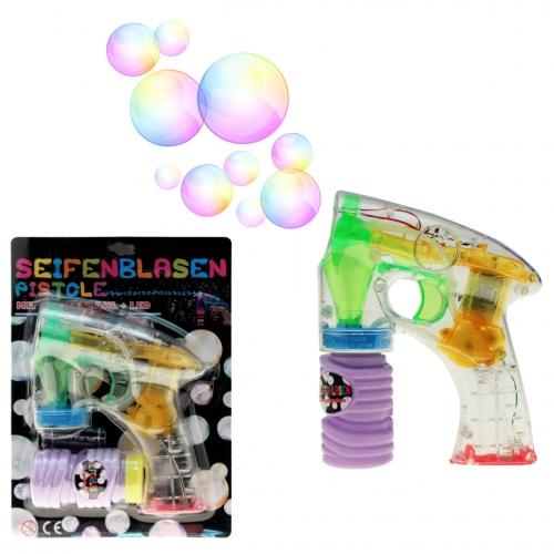10-544930, Seifenblasen Pistole mit LED Licht, mit Flüssigkeit, mit Batterien, mit Seifenblasenmaschine, Seifenblasenpistole komplettset