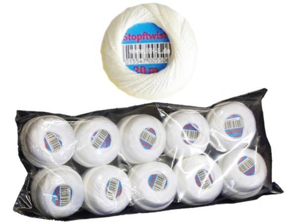 Stopftwist Baumwolle 20m, Farbe: weiß, 8fach mercerisiert, deutsches Markenprodukt