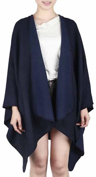 Double-faced Poncho in navy- and jeans-blue